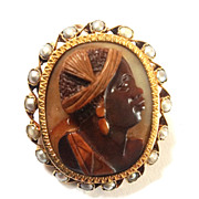 Scarce and Gorgeous Blackamoor Cameo with Natural Pearl Surround