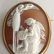 Museum Quality Shell Cameo of a Winged Cherub Painting