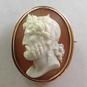 Finely Carved Shell Cameo of Zeus
