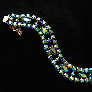 Teal Aurora Borealis Signed Sherman Bracelet.