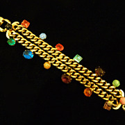 Multi-Stoned Chain Link Bracelet.