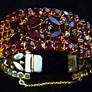 Garnet (Dark Red) Signed Sherman Cuff Bracelet.