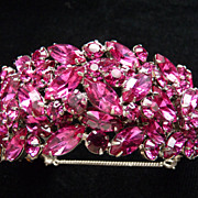 Absolutely Incredible Fuchsia Signed Sherman Cuff Bracelet.