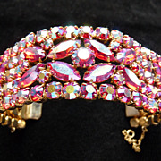 Red Aurora Borealis Signed Sherman Cuff Bracelet.