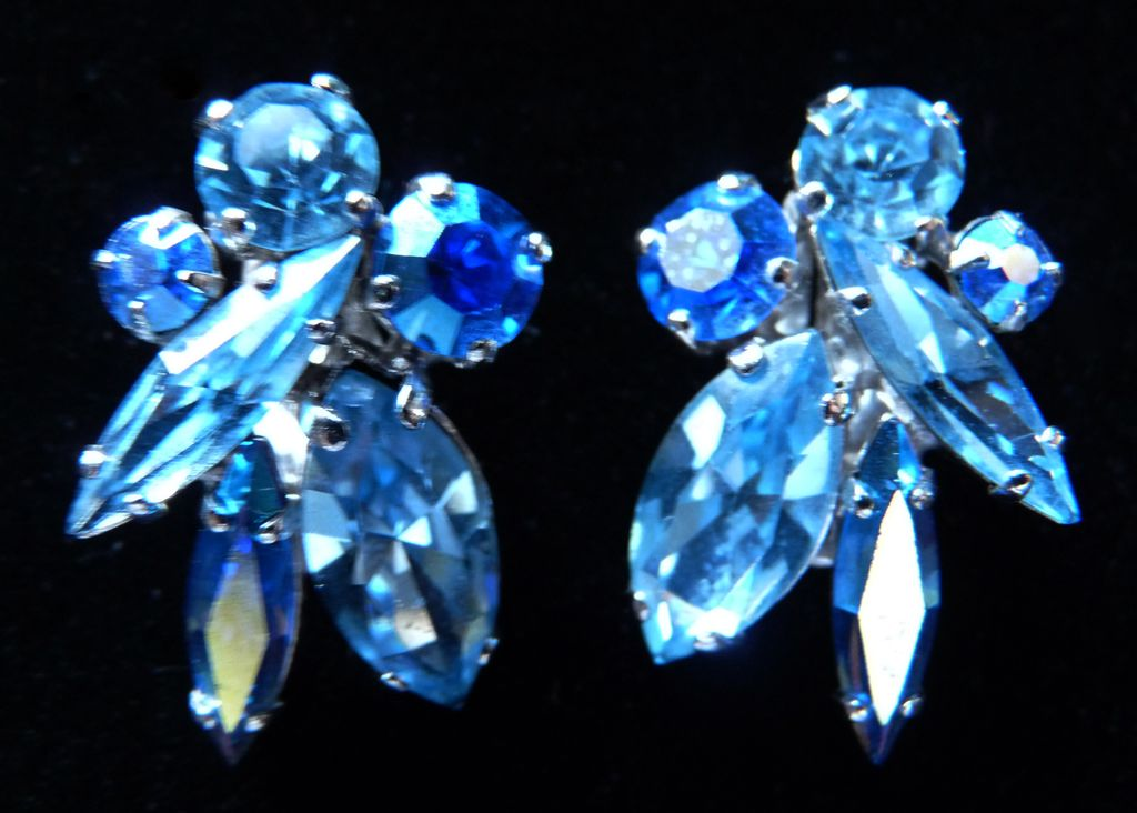 Pretty Blues Signed Sherman Earrings.