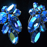 Cobalt Blue Signed Sherman Earrings.