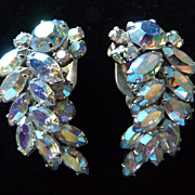 Light Blue Aurora Borealis Signed Sherman Earrings.