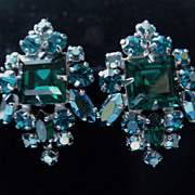 Gorgeous Teal Square Cut Signed Sherman Earrings.