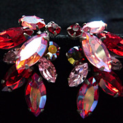 Red and Pink Japanned Signed Regency Earrings.