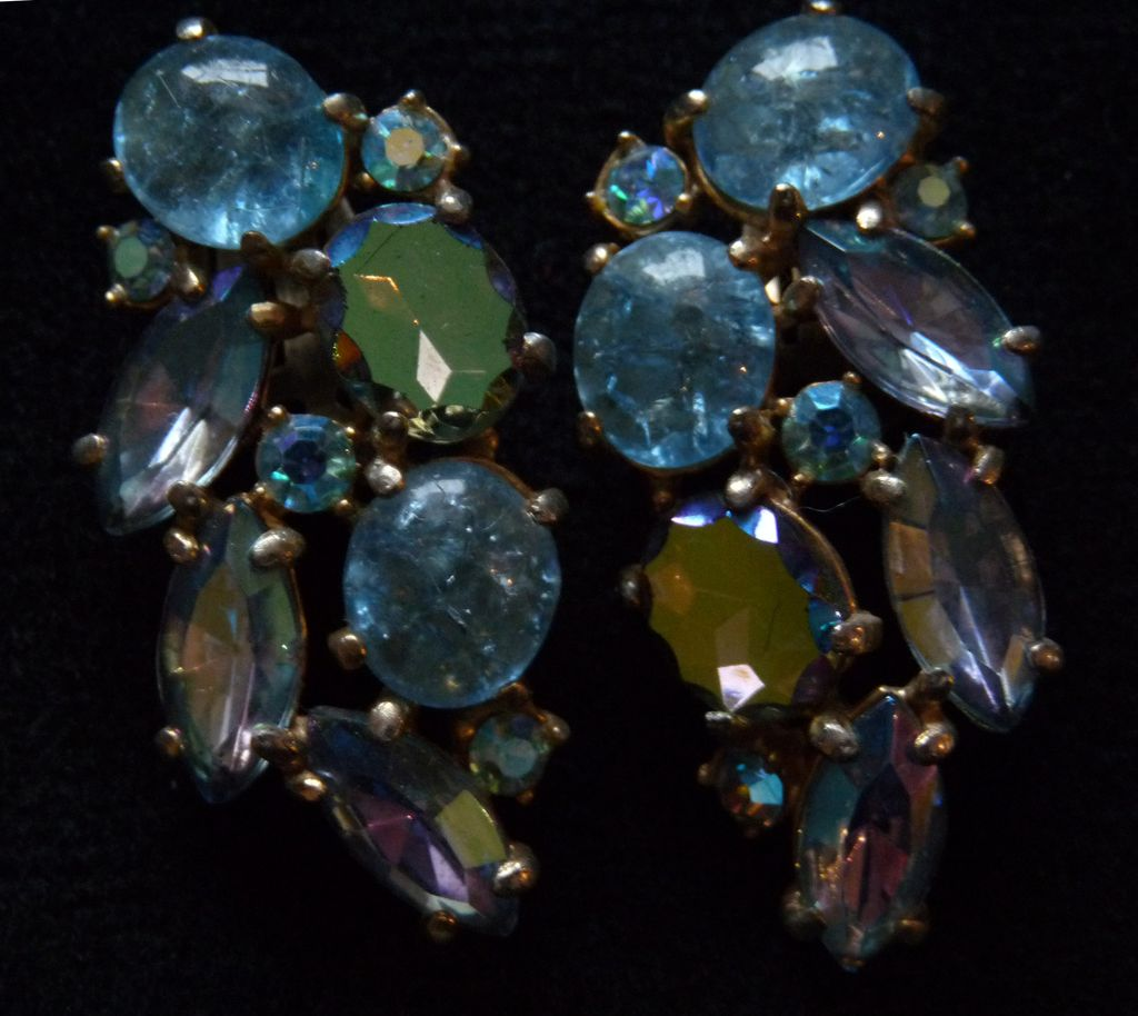 Beautiful Blue Signed Schiaparelli Earrings.
