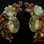 Yellow and Brown Signed Sherman Large Earrings.