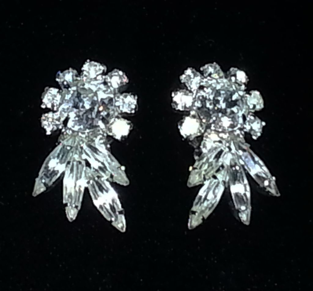 Clear Floral Signed Sherman Earrings.