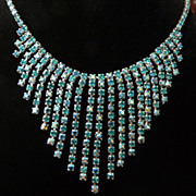 Unsigned Sherman Teal Bib Necklace.