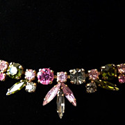 Olive, Pink and Grey Signed Sherman Necklace.