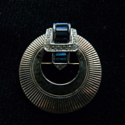 Deco-Style Navy Boucher Circle Pin.