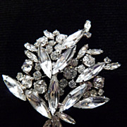 Clear Leafy Signed Sherman Brooch.