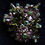 Unsigned Light Pink and Olive Green Floral Brooch.