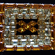 Yellow Rectangle Layered Signed Sherman Brooch.