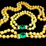 Trifari Emerald Green Faux Pearl Necklace and Bracelet Set.