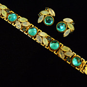 Blue and Opalescent Bracelet and Earring Set.