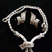 Clear Boucher Necklace and Earring Set.