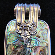 Vintage Sterling Silver and Abalone Pendant