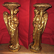 Pair of Heavy Neapolitan Gold Painted Angel Pillar Candle Stands