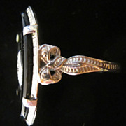 SOLD Vintage Art Deco 1930s 14K White Gold Black Onyx Diamond Ring