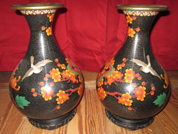 Opposite Facing Pair of Beautiful Pear Shaped Oriental Cloisonne Vases on Stands