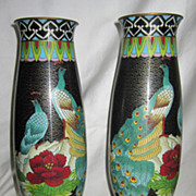Beautiful Pair of Oriental Vintage Peacock Cloisonne Enameled Brass Vases
