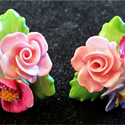Vintage Denton Floral Porcelain China Screw Back Earrings