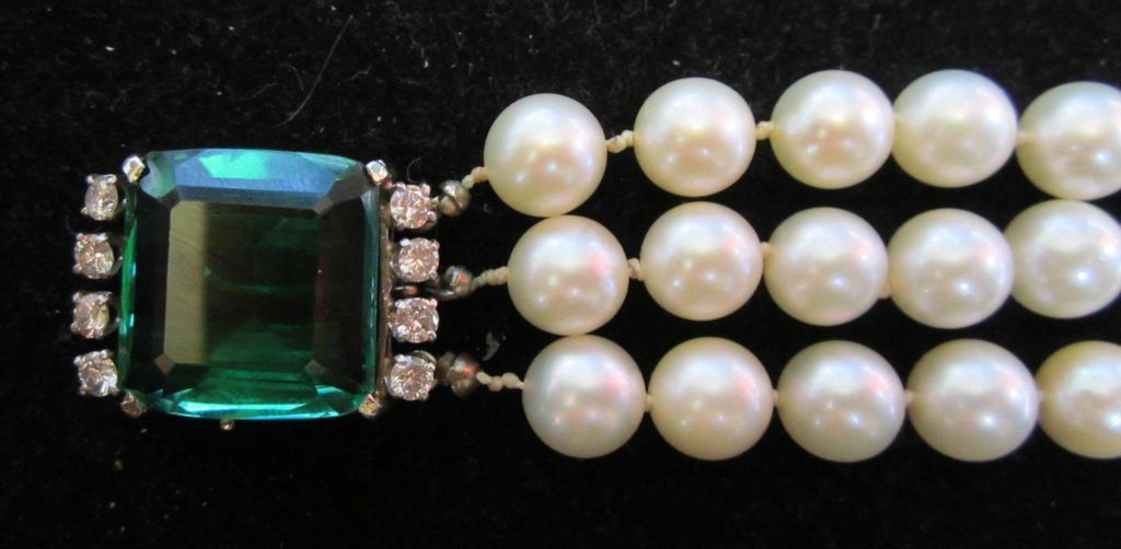 Vintage K. Lambert Art Deco Pearl Spinel and Diamond Bracelet