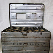 SOLD Vintage Metal 6 Dozen Egg Crate Carrier Mailer Box