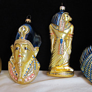 SOLD Vintage Egyptian Mercury Glass Christmas Holiday Ornaments King Tut Cleopatra Cat and Hor