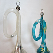 Hand Blown Glass German Trumpet Horns Christmas Decoration Ornaments