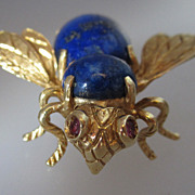 Vintage 1950s 18k Gold and Lapis Lazuli Bee With Ruby Eyes Brooch Pin