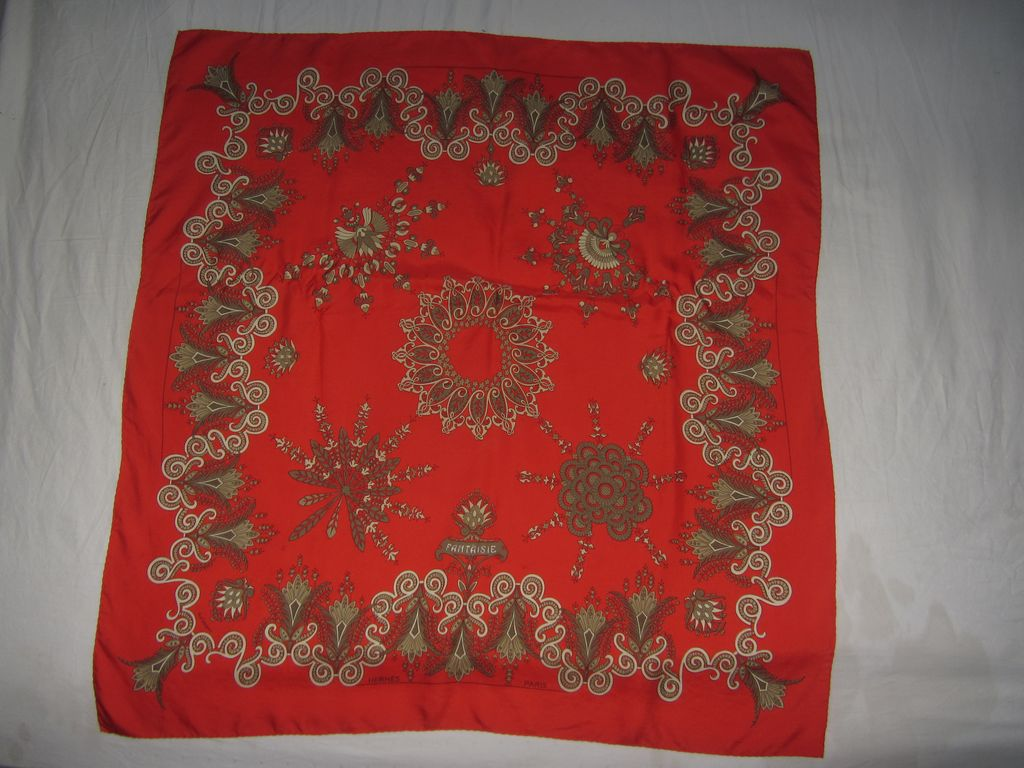 Vintage Hermes Couture H. d'Originy Red Fantaisie Scarf