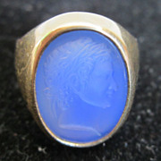 SOLD Antique 18k Gold Estate Ring Blue Agate Roman Caesar Intaglio Signet