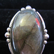 Vintage Sterling Silver Labradorite Cabochon Ring