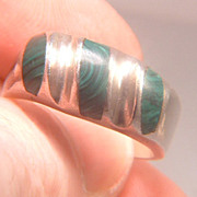 Vintage 1980s Taxco Sterling Silver and Malachite Inlay Men's Ring Size 12 1/2