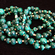 Vintage Extra Long Natural Malachite And Ox Bone Necklace 64&quot; Double Length