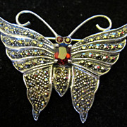 Antique Sterling Silver Marcasite and Garnet Butterfly Mariposa