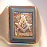 14k Gold Freemason's Masonic Ring With Slate Frame Blue Enamel Dated Inscription