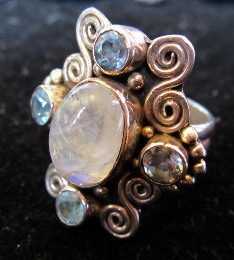 Vintage Moonstone and Blue Topaz Ring