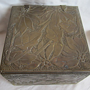 SOLD Antique Newcomb College Style Arts & Crafts Era Hand Hammered Foliage Brass Box