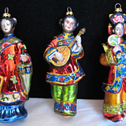 Vintage 1980s Japanese Oriental Geisha Girl Christmas Holiday Ornaments Gay Interest