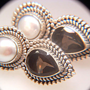 Vintage Sterling Silver Pearl And Smokey Quartz Earrings
