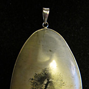 Vintage Sterling Silver and Picture Jasper Double Sided Pendant With Tree Scene