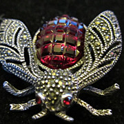 Vintage Red Cut Glass Sterling Silver and Marcasite Fly