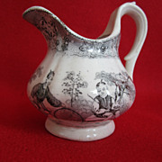 Antique Staffordshire Transferware Creamer Chinese Juvenile Sports Thomas Barlow
